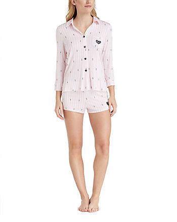 XOX BETSEY BABES KNIT SHORT PJ SET