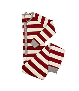 Womens Organic Rugby Stripe Holiday Onesie