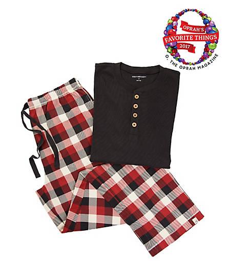 Mens Organic Henley Buffalo Plaid Check Pajama Set - Burts Bees Baby