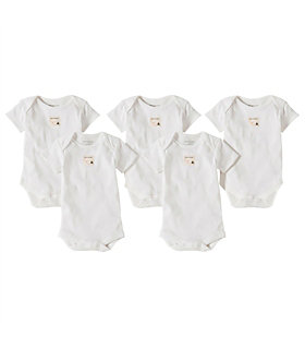 Bee Essentials Short Sleeve Organic Cotton Bodysuit 5 Pack
