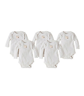 Bee Essentials Long Sleeve Organic Cotton Bodysuit 5 Pack