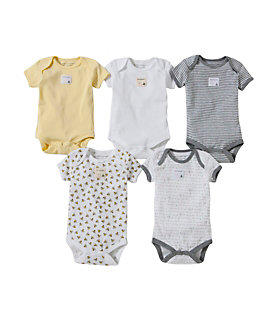 Bee Essentials Set of 5 Short Sleeve Organic Cotton Bodysuits