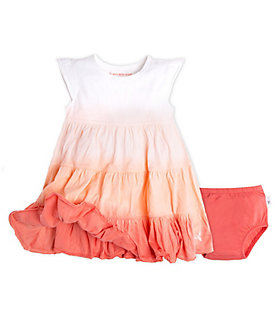 Baby Dip Dye Organic Cotton Dress and Diaper Cover Set