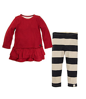 Baby Organic Cotton Thermal Skater Dress and Striped Legging Set
