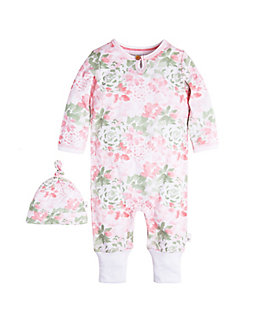 Baby Succulent Flowers Ruffled Organic Cotton Coverall and Hat Set