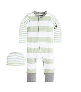 Baby Mixed Stripe Organic Cotton Coverall and Hat Set