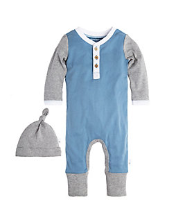 Baby Henley Organic Cotton Coverall and Hat Set