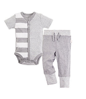 Baby Snap Front Stripe Organic Cotton Bodysuit and Pant Set