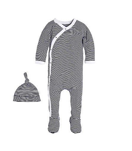 fb4bd50e7d0 Baby Kimono Footed Organic Cotton Coverall and Hat Set