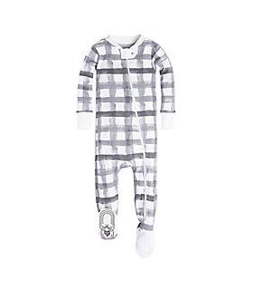 Baby Buffalo Check Organic Zip Front Footed Pajamas