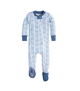 Baby Watercolor Chevron Organic Zip Front Footed Pajamas
