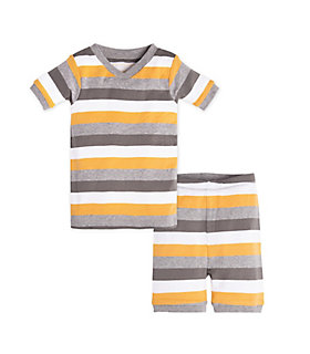 Baby Tri Color Stripe Organic Cotton Short Sleeve Pajamas