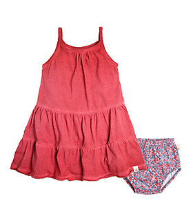 Baby Pigment Dyed Organic Cotton Dress and Diaper Cover Set