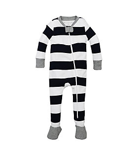 Rugby Stripe Zip Front Footed Pajamas