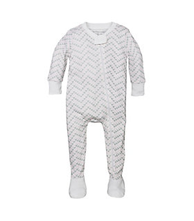 Chevron Bee Baby Organic Zip Front Footed Pajamas