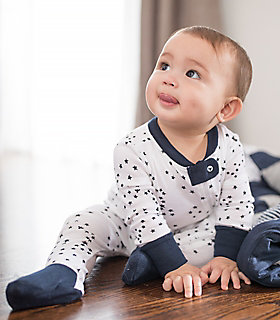 Twinkle Bee Baby Organic Zip Front Footed Pajamas