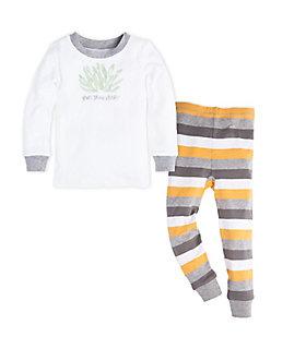 Kids Tri Color Stripe Organic Cotton Pajama Set