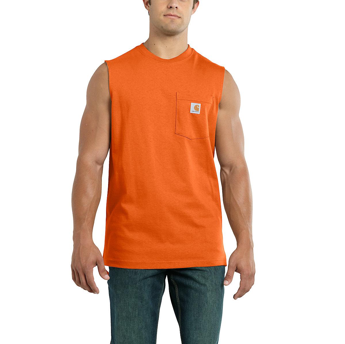Men 39 s workwear pocket sleeveless t shirt 100374 carhartt for Tall sleeveless t shirts