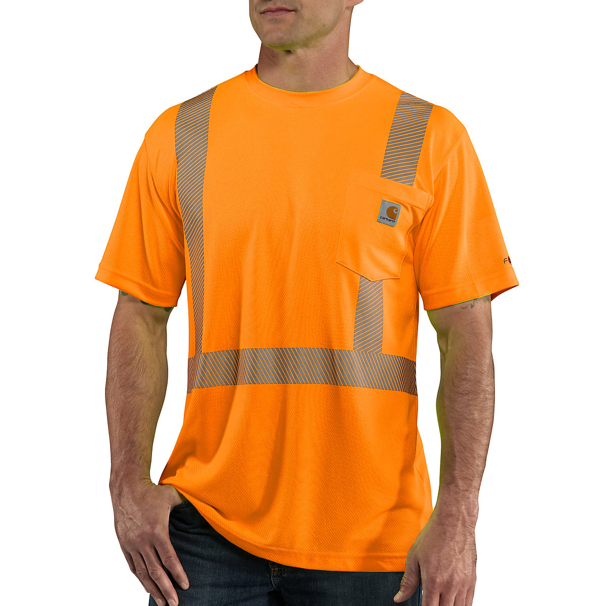 Men 39 s carhartt force high visibility short sleeve class 2 for Carhartt burgundy t shirt