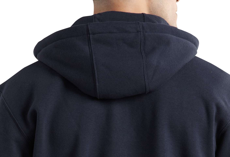 Adjustable jersey-lined three-piece hood adds comfort