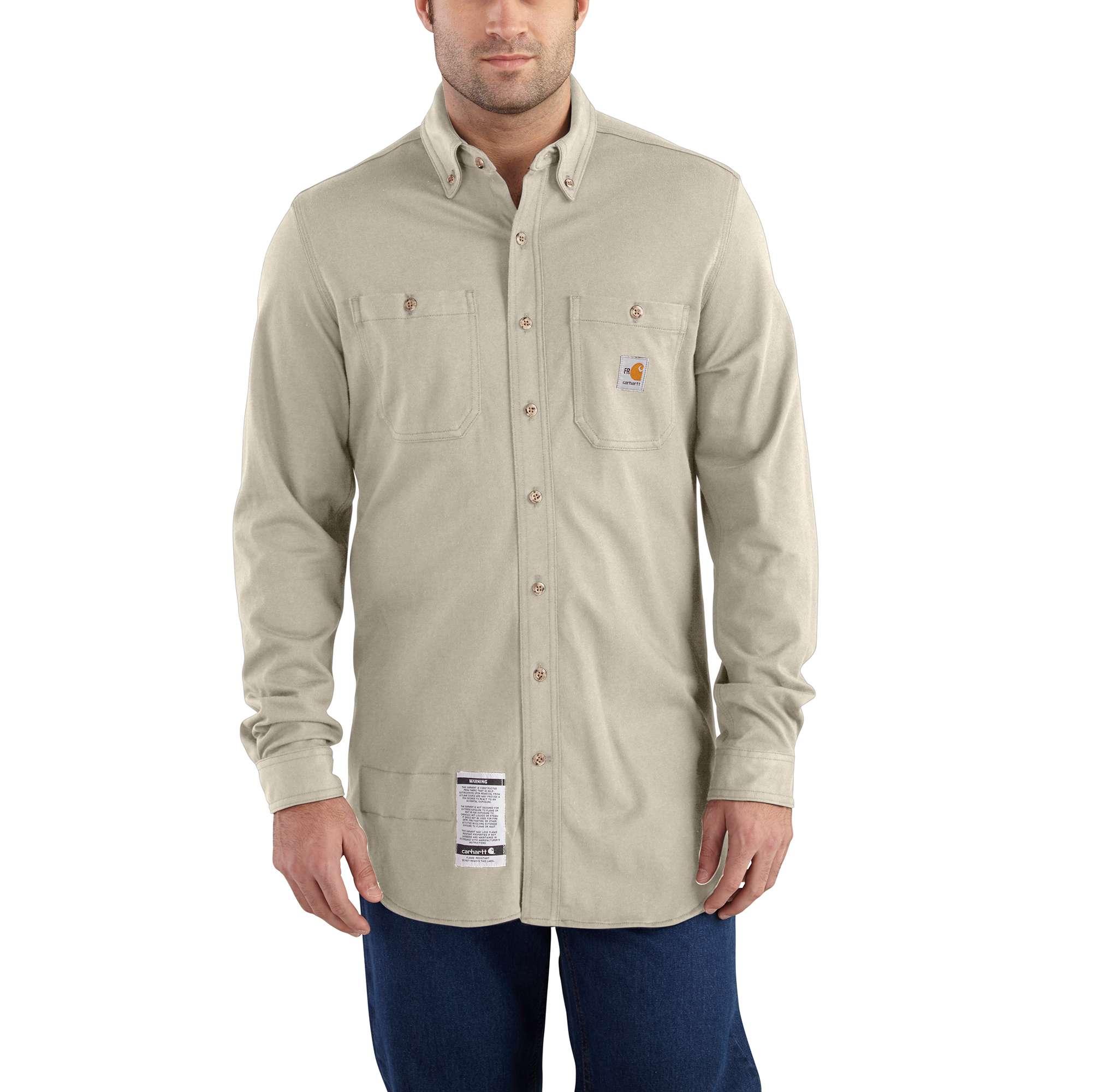carhartt flame-resistant carhartt force cotton hybrid shirt sand 4xltl
