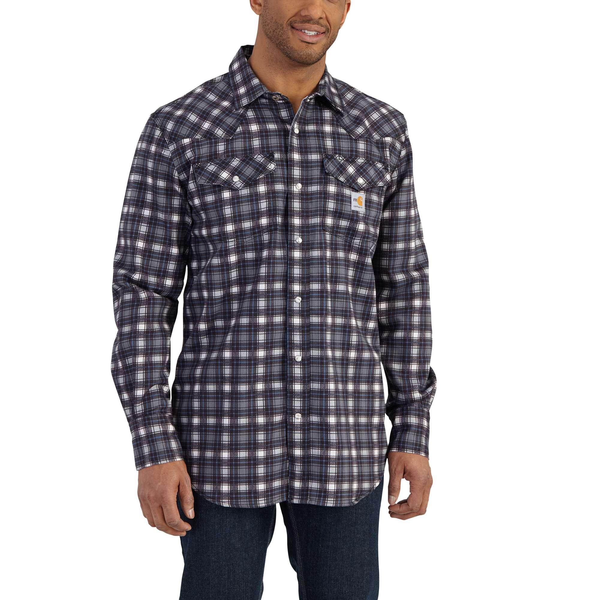carhartt flame resistant snap-front plaid shirt steel 4xlr
