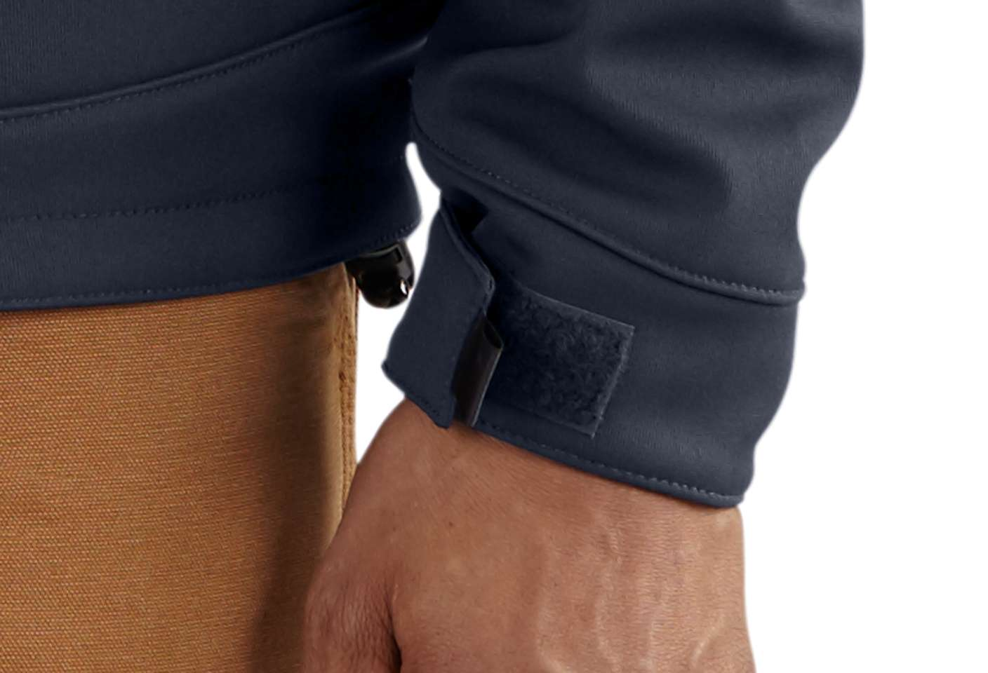 Hook-and-loop adjustable cuffs keep out the cold