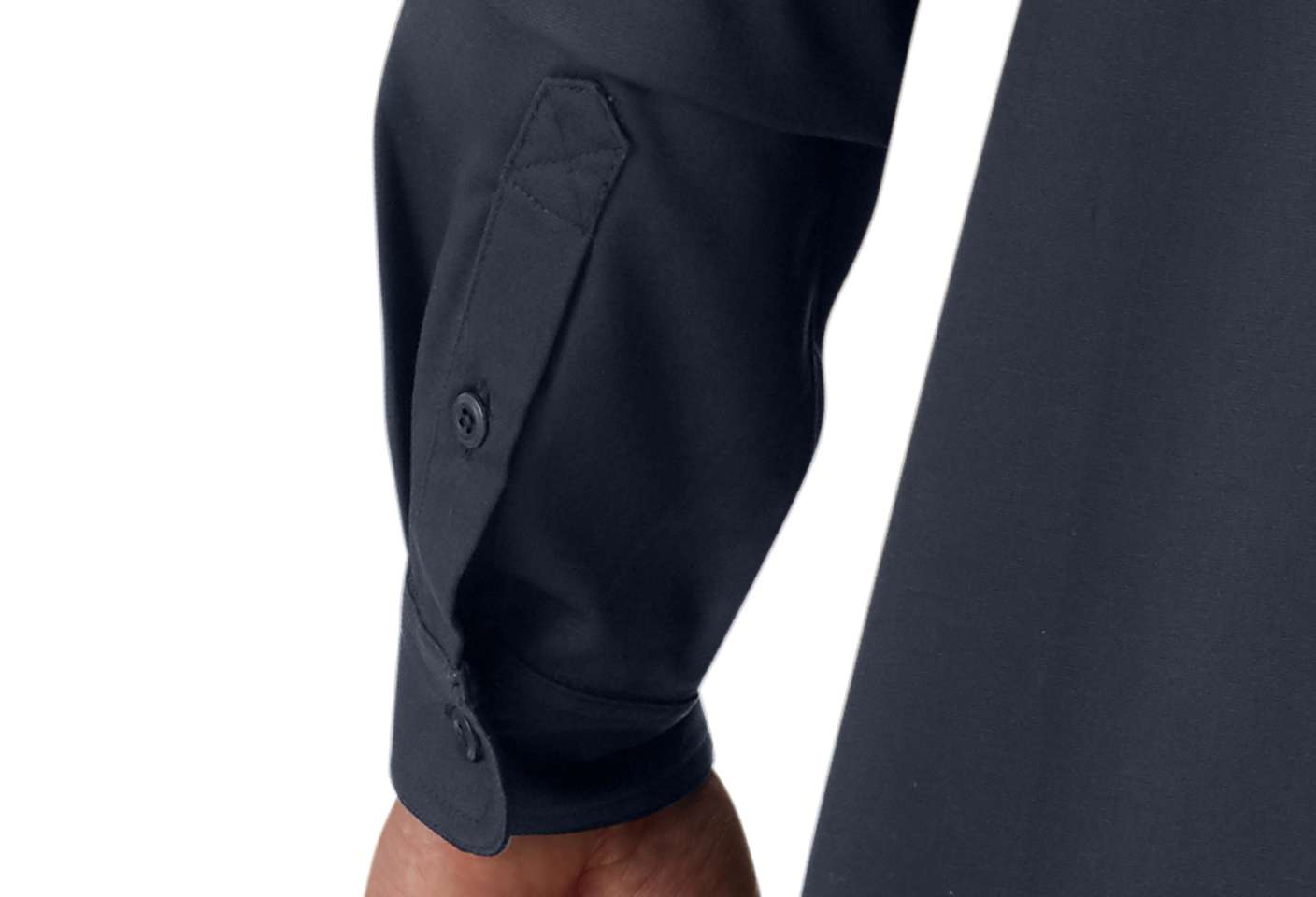 Two-button adjustable cuffs for the perfect fit