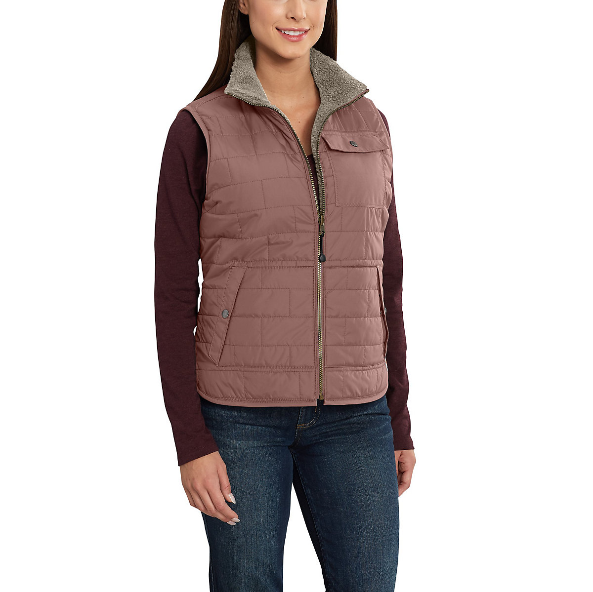 amoret girls The carhartt women's amoret sherpa-lined vest - 102750 is a reversible vest that can change from cozy flannel to durable water repellant it is lightweight and sherpa lined for comfort.