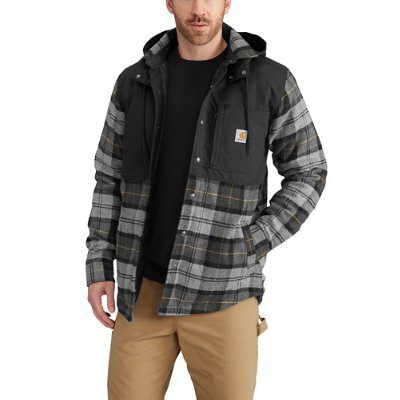 Carhartt Men S Dark Heather Gray Ee Hooded Plaid Shirt Jac Front