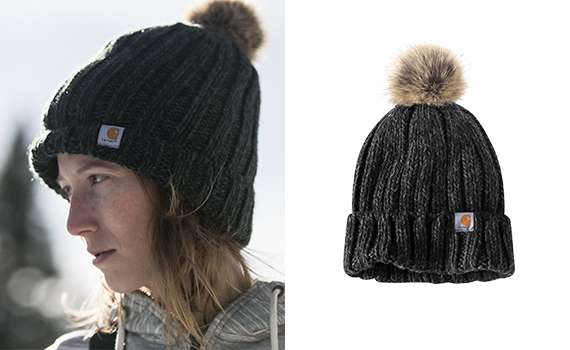 1 100% acrylic 2 Cable knit with faux-fur pom-pom 3 Ribbed band can be worn folded up for classic fit or down for slouchy fit 4 Reversible Carhartt patch sewn on front 5 Imported