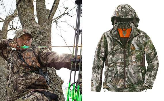 1 Rain Defender® durable water repellent 2 Move like you mean it with pieced underarm panels 3 Zip-through mock neck with detachable hood 4 Let off some steam with zippered underarms 5 Peace-of-mind in the tree stand with a safety harness exit on back