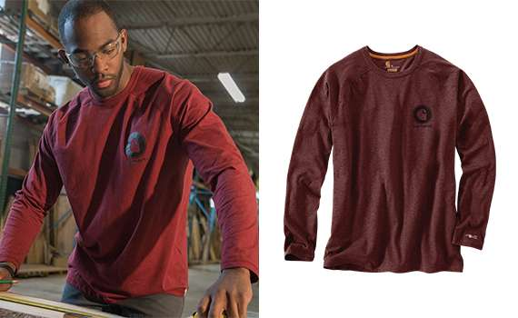 1 Relaxed Fit 2 FastDry® with 37.5 technology wicks away sweat for comfort 3 StainBreaker® technology releases stains 4 Raglan sleeves increase range of motion 5 Tagless neck label and smooth flatlock seams for comfort 6 Carhartt logo graphic printed on upper right chest 7 imported