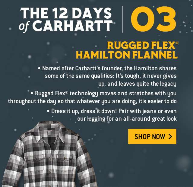 The 12 Days of Carhartt, Rugged Flex Hamilton Flannel, product moves and stretches with you