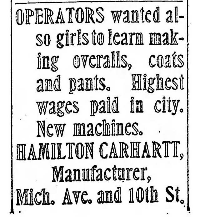 Want ad from the Detroit Free Press, September 1902
