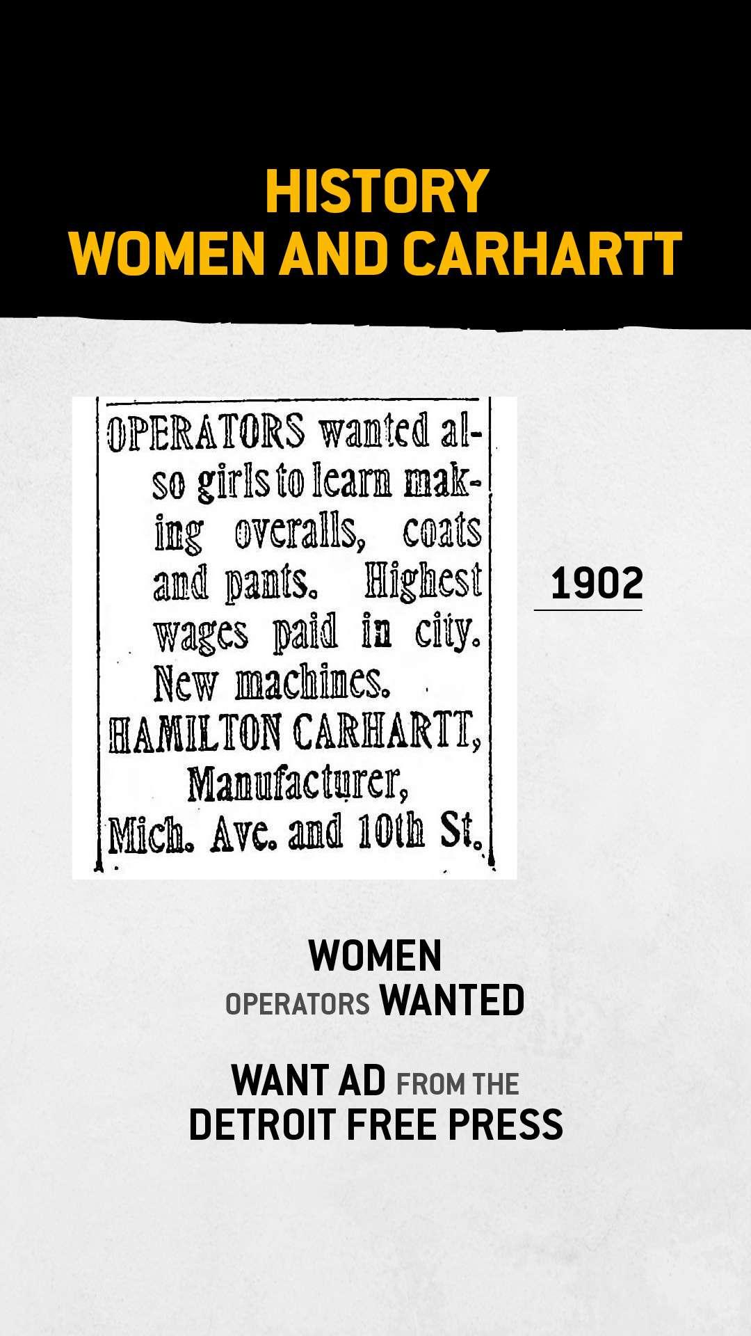 Gevraagd advertentie uit de Detroit Free Press, september 1902