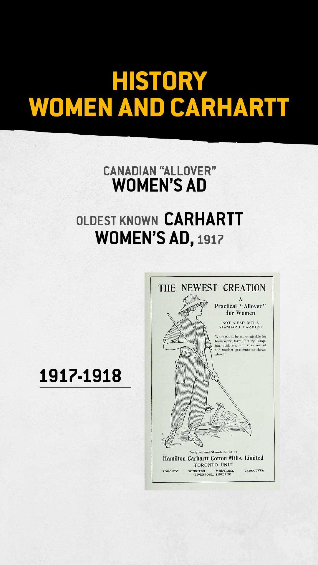 Oudste bekende damesadvertentie van Carhartt, 1917