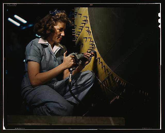 Riveter at work, Fort Worth, Texas, October 1942 (Library of Congress, Prints & Photographs Division, FSA/OWI Collection)