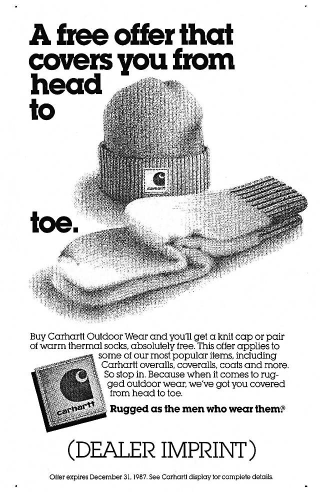 Proof for knit cap and socks promotion, 1987
