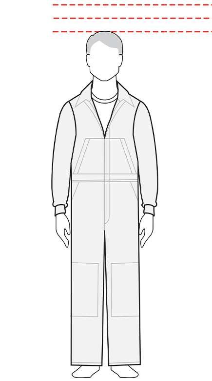 measurements men's short coverall