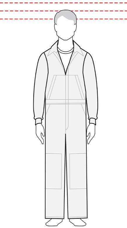 measurements men's regular coverall