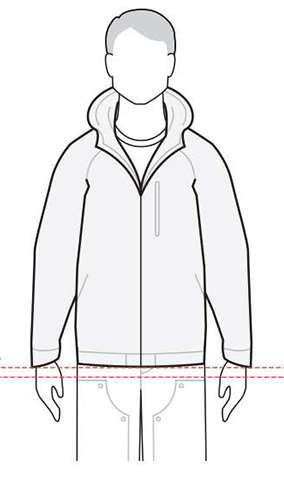 measurements men's performance jacket