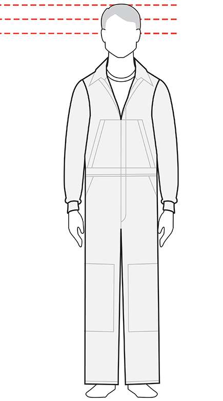 measurements men's tall coverall