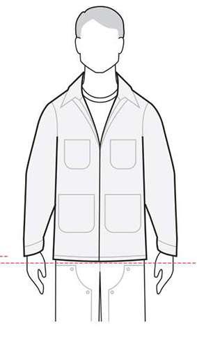 measurements men's coats & parkas