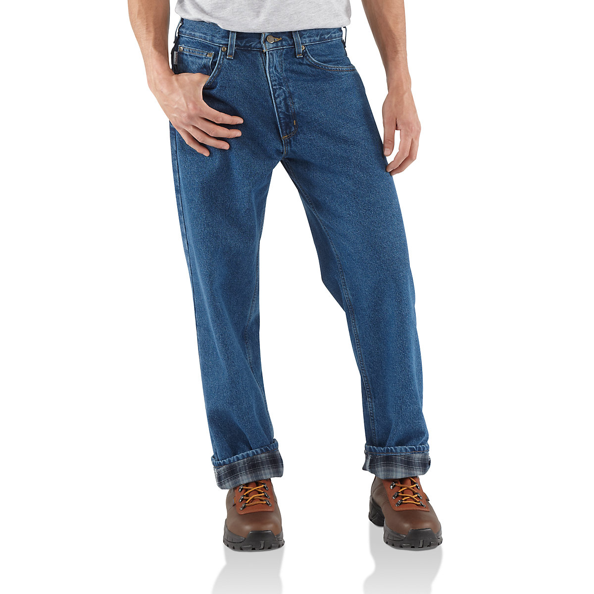 Men 39 s relaxed fit straight leg flannel lined jean b172 for Flannel shirt and jeans