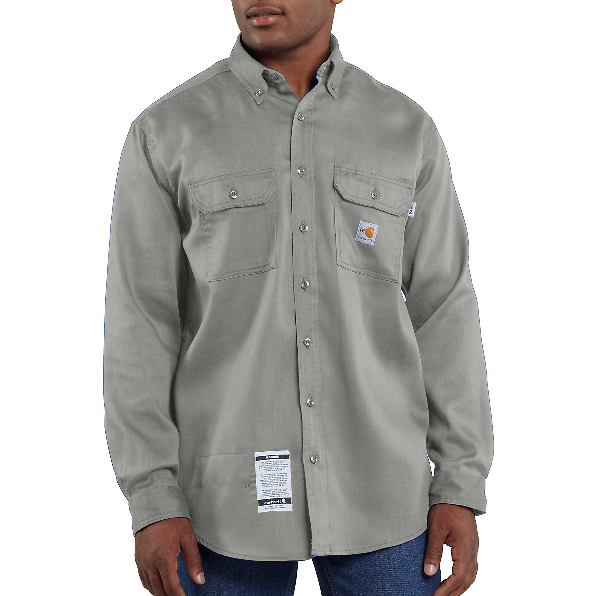 Men 39 s flame resistant lightweight twill shirt frs003 for Carhartt work shirts tall