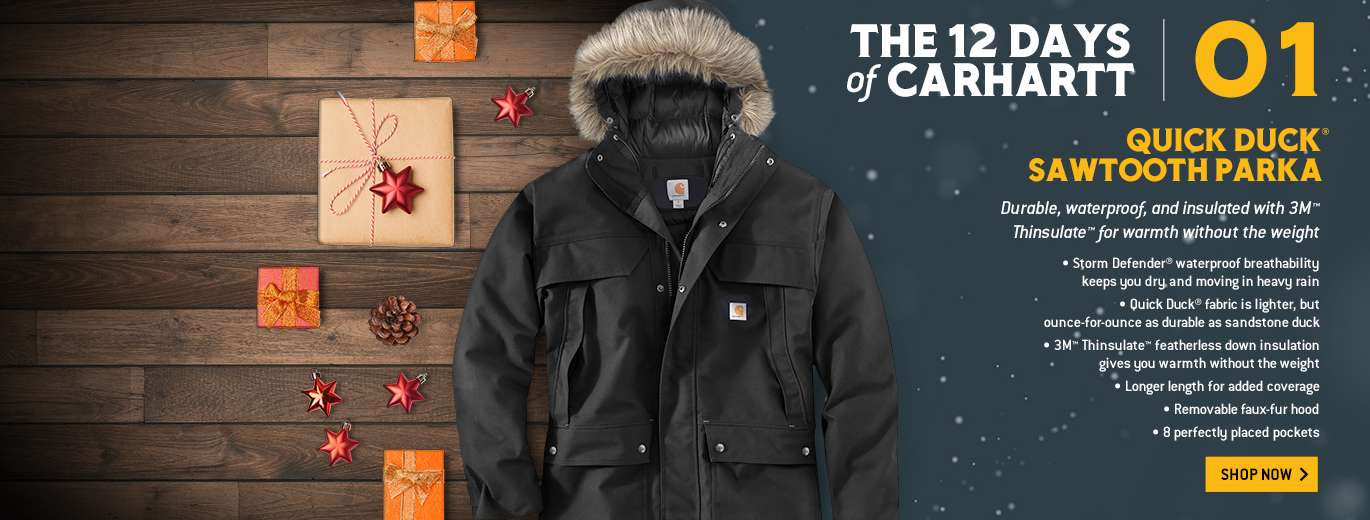 The 12 Days of Carhartt, Quick Duck Sawtooth Parka, Durable, waterproof, and insulated with 3M Thinsulate for warmth without the weight