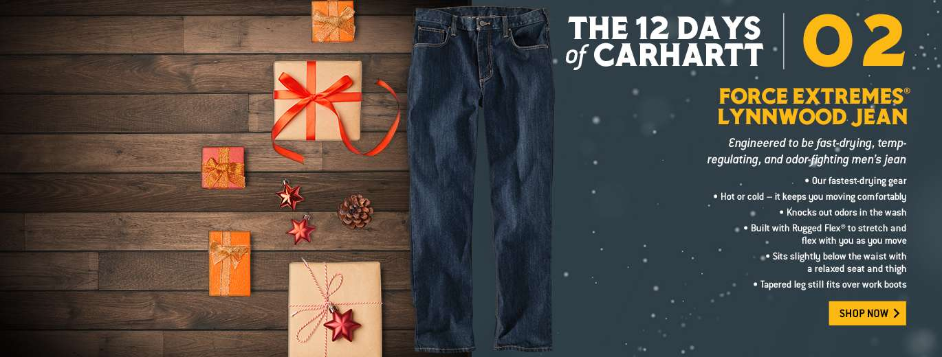 The 12 Days of Carhartt, Force Extremes Lynnwood Jean, Engineered to be fast-drying, temp-regulating, and odor-fighting mens jean