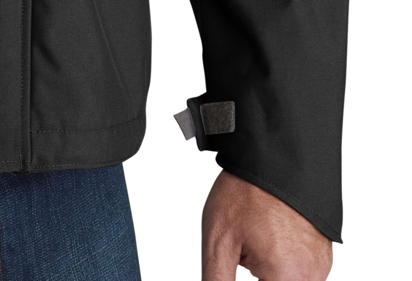 Internal rib-knit storm cuffs keep out cold and wet