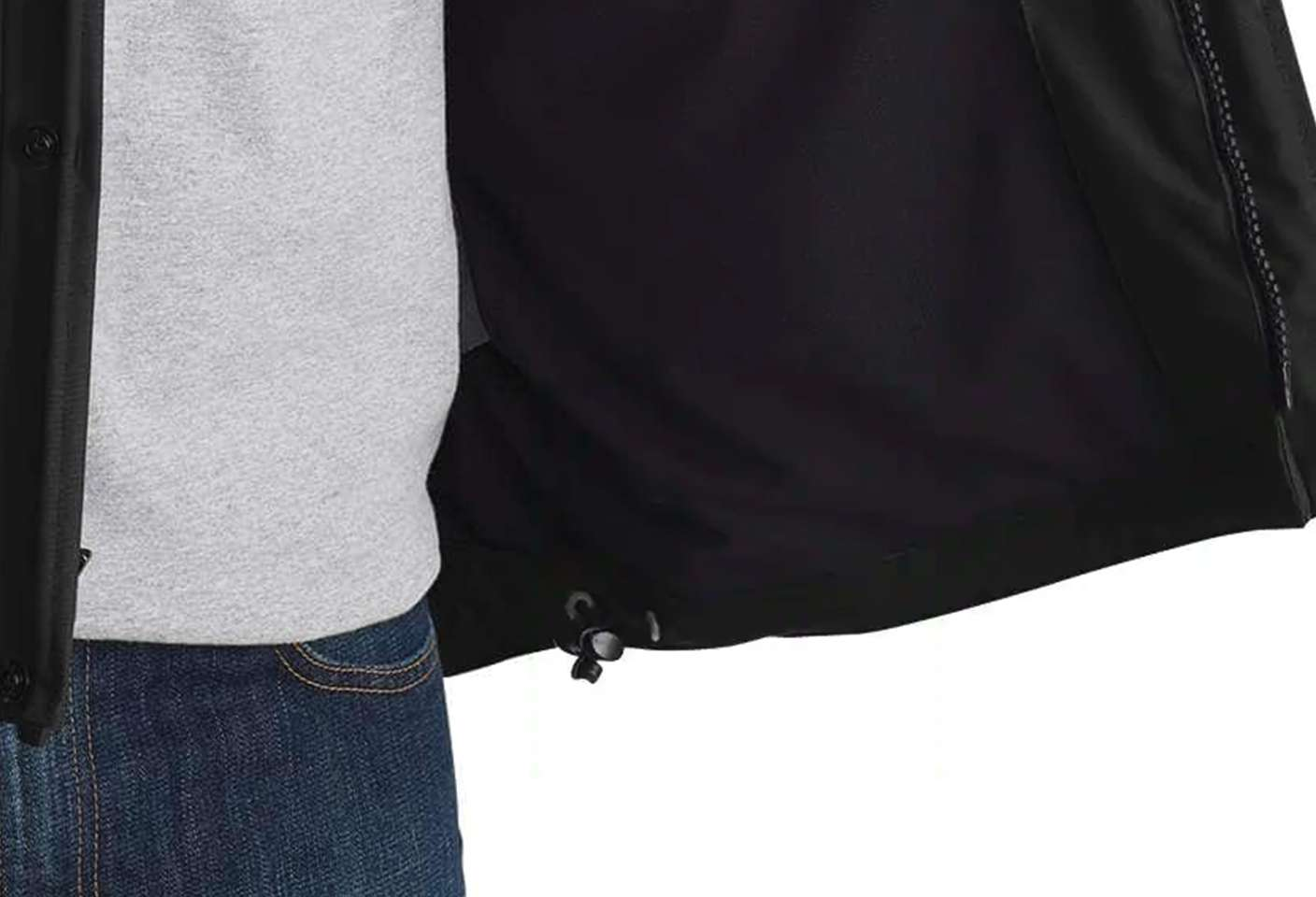 Drawcord-adjustable hem keeps out the cold